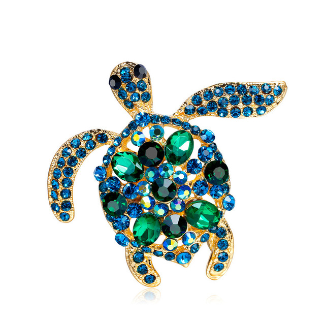 Trendy Vintage Alloy Rhinestone Turtle Tortoise Brooch Pin for Women  Fashion Cute Crystal Animal Corsage Jewelry Accessories f5f42f9125e7