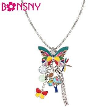 8de6f5ac360e Bonsny aleación del esmalte de la mariposa pájaro árbol libélula COLLAR  COLGANTE Rhinestone Animal joyería para las mujeres chica adolescentes  regalo ...