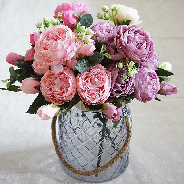 5 Heads Artificial Rose Flower Real Touch Silk Fake Flowers For