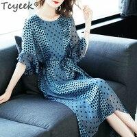 Tcyeek Silk Long Dress Women Polka Dot Dress Blue Slim Party Dresses Elegant Summer Dresses Spring Vestidos Verano 2020 LWL1519
