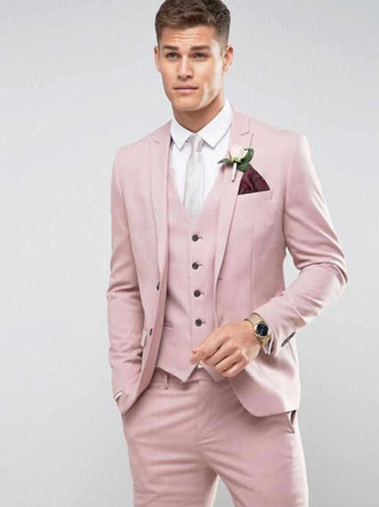 603d40abd6ef1 Индивидуальные светло-розовый мужской костюм Slim Fit Жених выпускного  вечера вечерние Блейзер костюм брак Homme