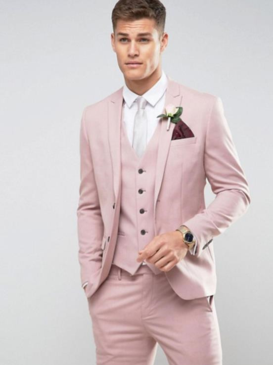 Tailor Made Light Pink Men Suit Slim Fit Groom Prom Party Blazer Costume Marriage Homme Male Tuxedo 3pcs(Jacket+Pants+Vest)