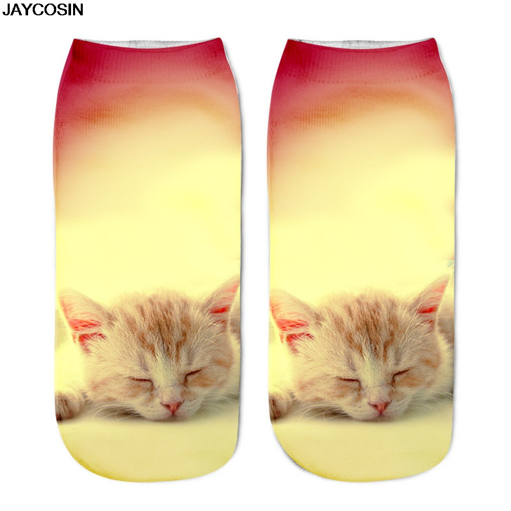 JACOSIN socks Fashion Popular 1Pairs Funny Unisex Polyester Short Socks 3D Cat Printed Anklet Casual for female Casual daliy 19