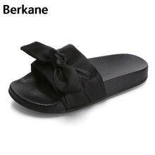 Розовый с шелковым бантом тапочки атласные модные шлепанцы женские летние сандалии chinelo прекрасная пляжная обувь Rihanna повседневные Вьетнамки Модные горячих