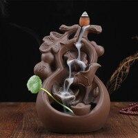 YXY Home Handcrafts Decor Creative Violet Arenaceous Gourd Incense Burner Ceramic Reversal Smoke Cone Censers Burner Buddha
