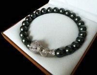 fancy 20mm black shell pearl inlay zircon leopard head necklace