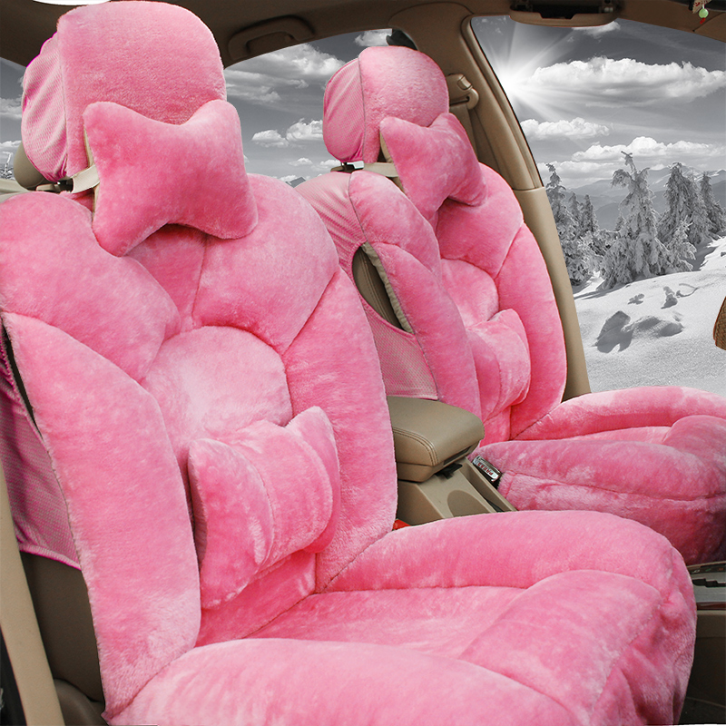 Winter Floss Car Seat Covers Pink Grey Brown Set Universal Cushion Cover In Automobiles From Motorcycles On