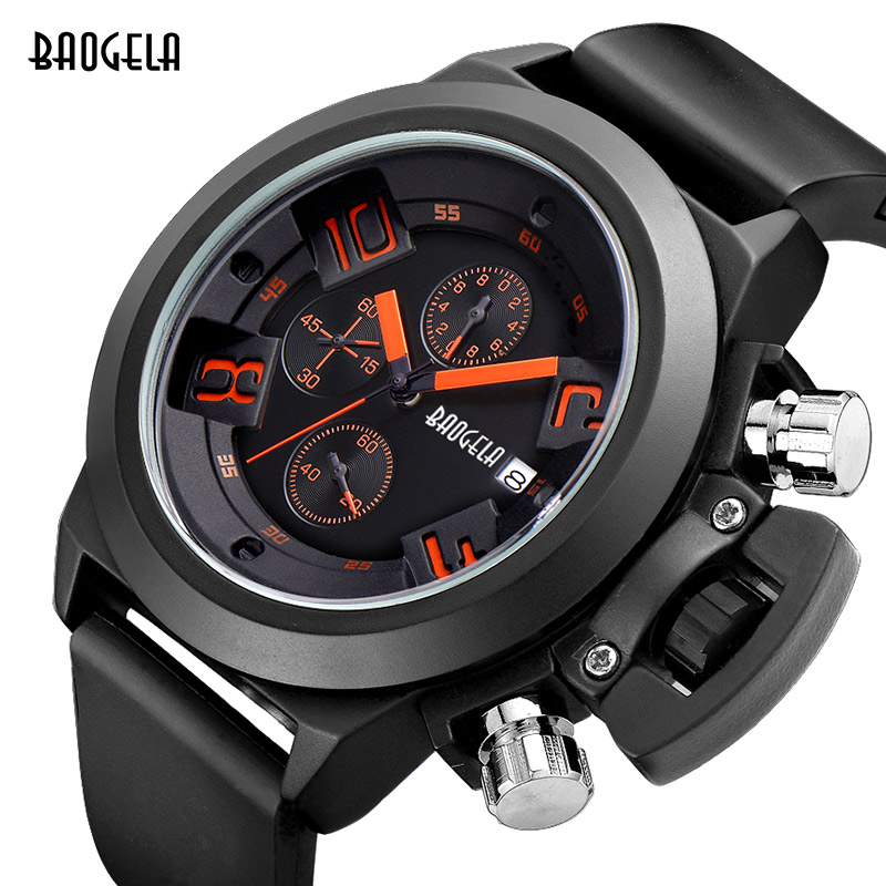Fashion Chronograph Mens Wrist Watches Luxury Silicone Band Waterproof Sport Quartz Watchwith Calendar for Man Hour in Quartz Watches from Watches