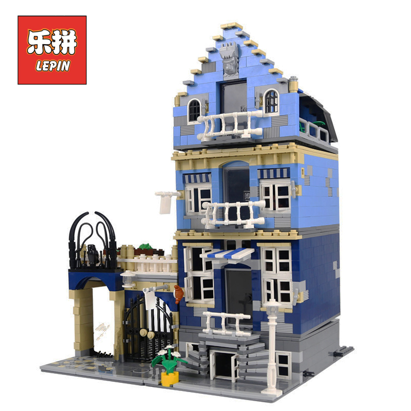 LEPIN 15007 Factory City Street European Market Set DIY Model Building Kits Blocks Bricks Children Toys Christmas Gift Brinquedo 10646 160pcs city figures fishing boat model building kits blocks diy bricks toys for children gift compatible 60147