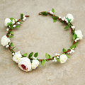 10PCs Wholesale Hair Bands Rose White Berry Wreath Rustic Beautiful Quinceanera Handmade Flower Girl Bride Spring Wedding Props