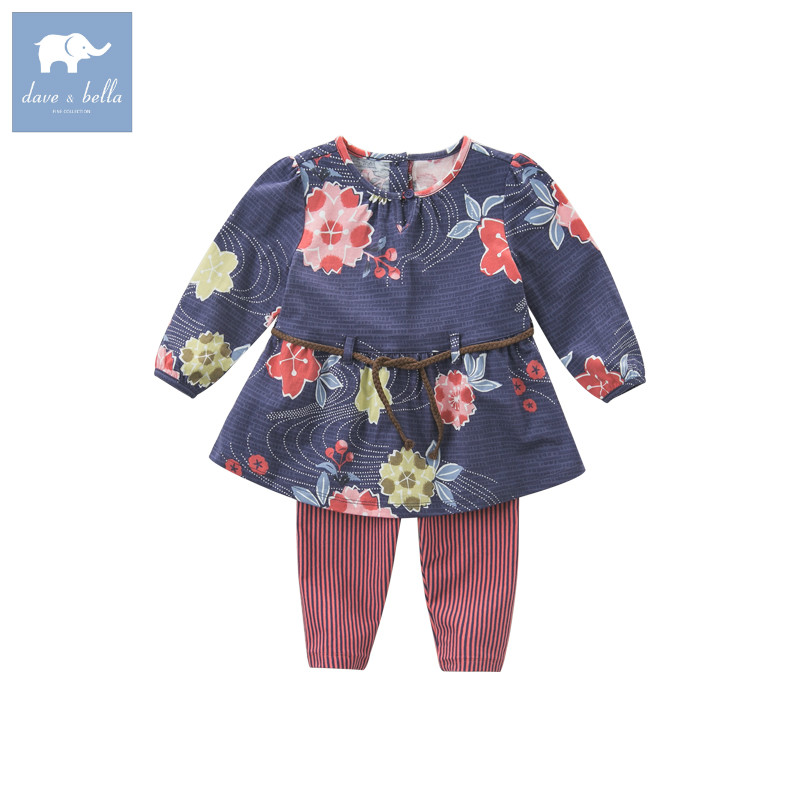 DB5692 dave bella autumn baby infant girls floral clothing sets printed suit children toddle outfits high quality clothes