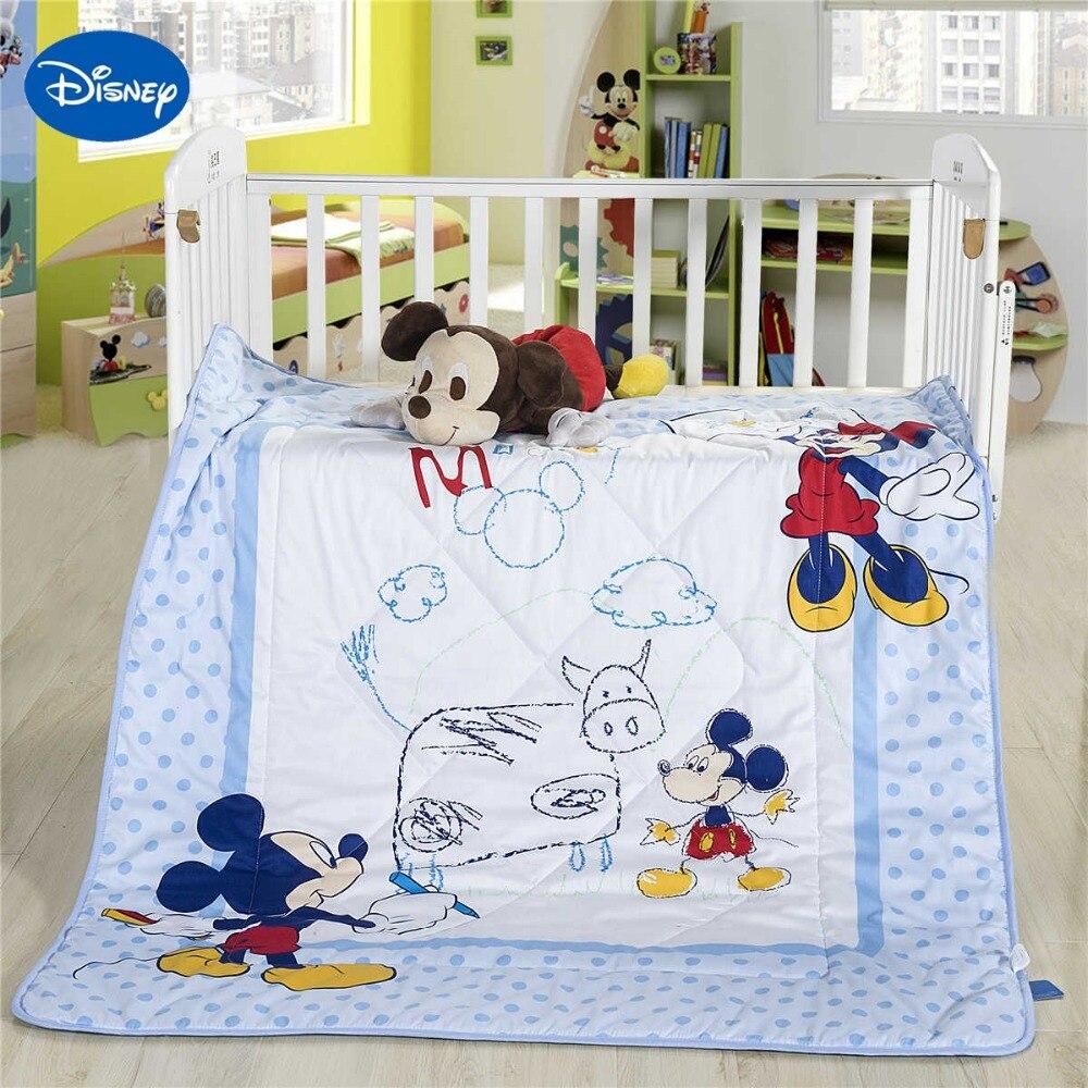 Mickey Mouse Peinture D'été Quilts Édredons Disney Literie Coton Wowen 120*150 cm Lit Bébé Garçons Lit Lit Décor bleu Polka Dot
