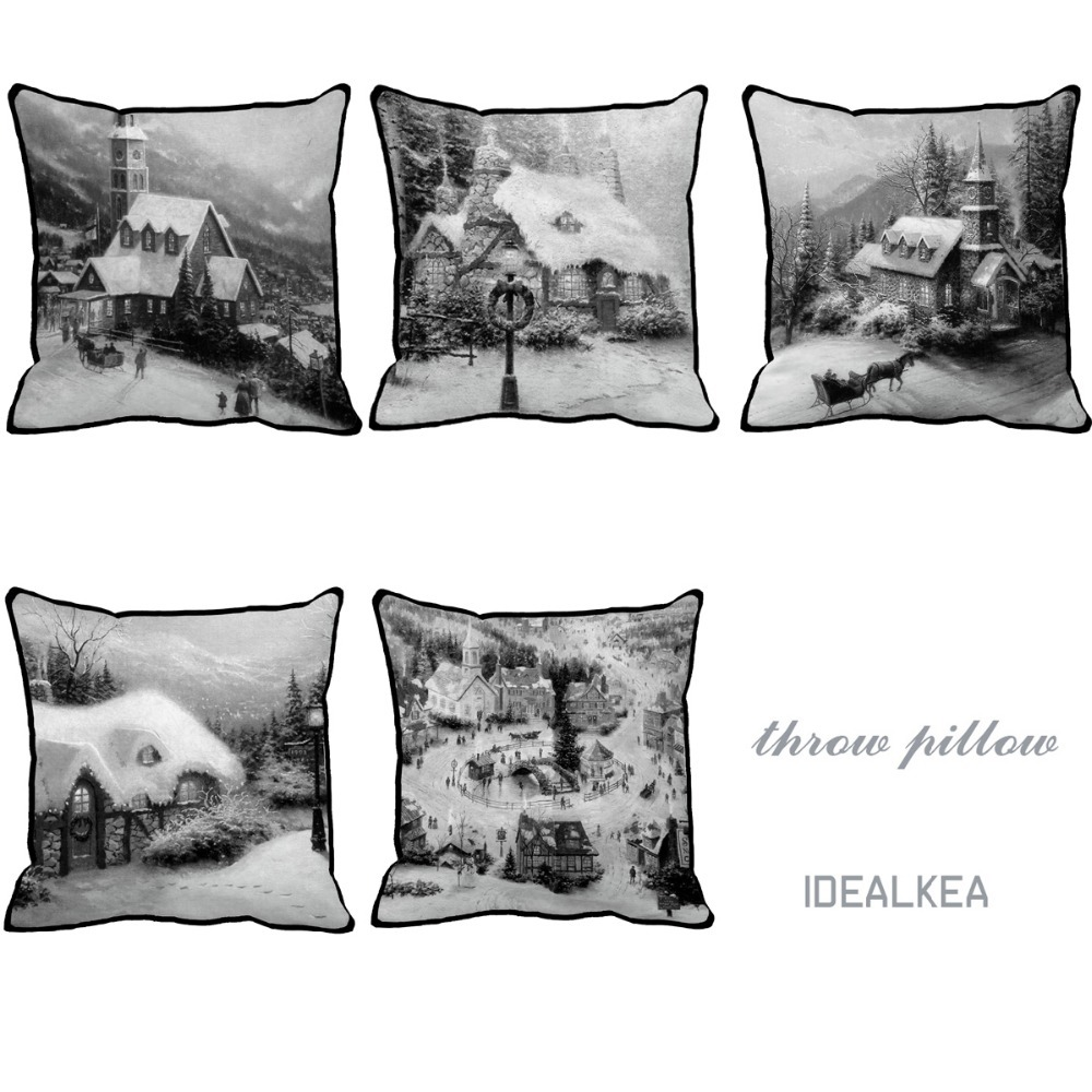 Black and white and gray moves scenic style Print Custom Home Decorative Pillow almofadas acccent pillow cushion for couch chair