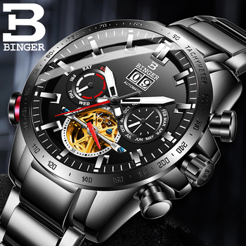Switzerland BINGER Automatic Watch Mens Watches Top Brand Luxury Military Tourbillon Mechanical Clock Black Relogio Masculino