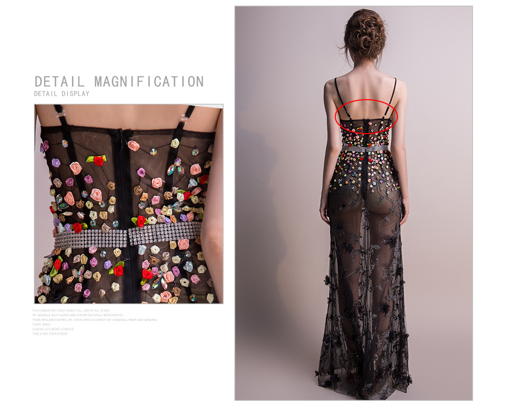 18 Women Dresses Mesh Elegant Party Club Wear Sexy Wrap Summer Long Sweet Floral Nightclub See Through Gothic Lolita Dress 5