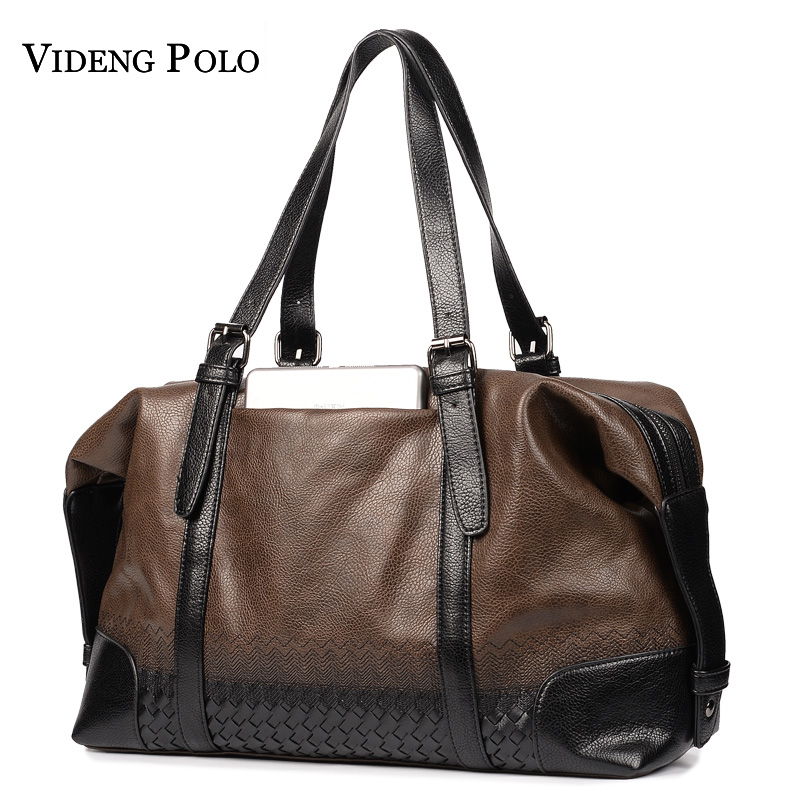 VIDENG POLO Men Weave Leather Business Travel Bags Handbags For Men Large Capacity Portable Shoulder Bags Men's Casual Package safebet brand high quality pu leather handbags for men large capacity portable shoulder bags men s fashion travel bags package