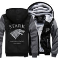 Dropshipping USA Game of Thrones House Stark of Winterfall Unisex Sweatshirt Zipper Fleece Winter Hoodies custom made jacket