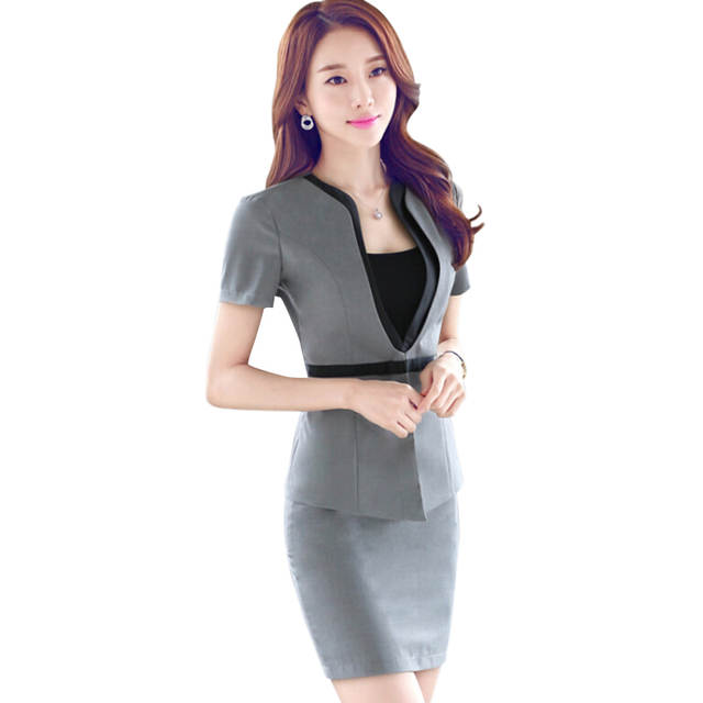 f06d0ceb5416 placeholder Fashion Short sleeve work wear office uniform designs women  plus size skirt suit OL summer slim
