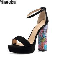 2018 Ankle Strap Heels Women Sandals Summer Shoes Women Open Toe Chunky High Heels Party Dress Sandals Big Size 46
