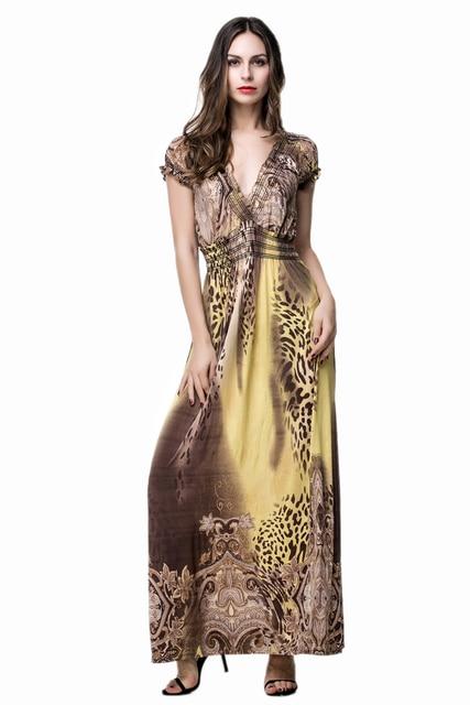 Summer Plus Size Dresses Yellow Maxi Boho Dress Women In Dresses