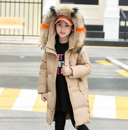 Winter Girls Coat Fashion Children Faux Fur Collar Hooded Outerwear Coats Girls Clothing Kids Long Thick Warm Down Jackets Parka 2017new down parka winter jacket women cotton padded thick ultra light long coat faux fur collar hooded female jackets for woman page 1