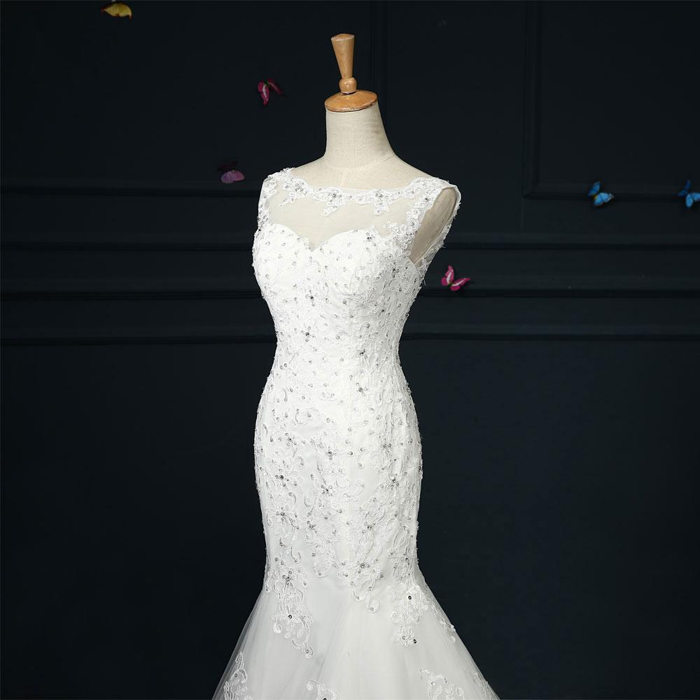 Liyuke Beautiful Mermaid Wedding Dress With Court Train Beading ...