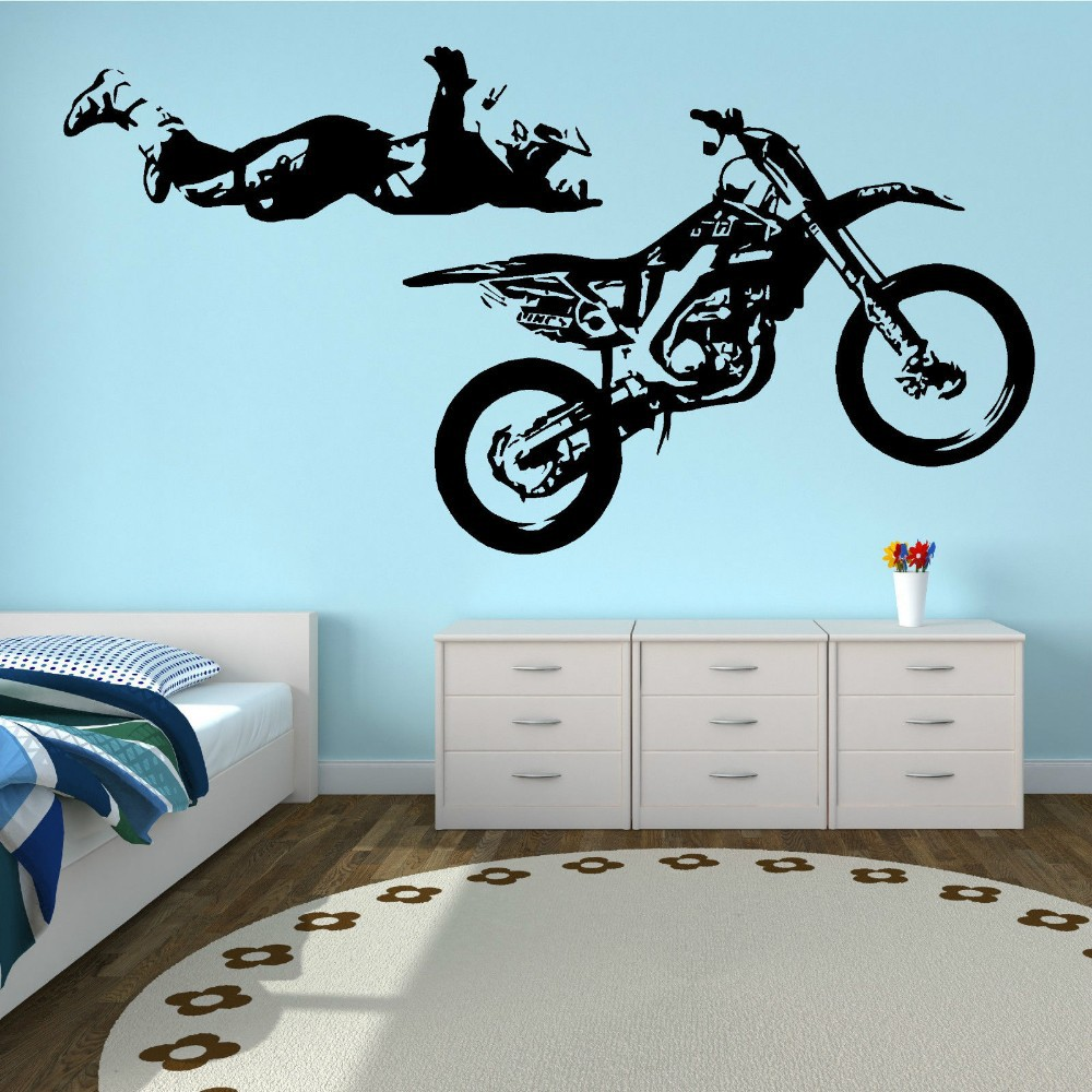 Motocross Stunt Motobike Boys Sport Removable Vinyl Wall Sticker Kid s Room  Wall Decal Bedroom Decorative Home Decoration. Online Get Cheap Motocross Wall Decal  Aliexpress com   Alibaba Group