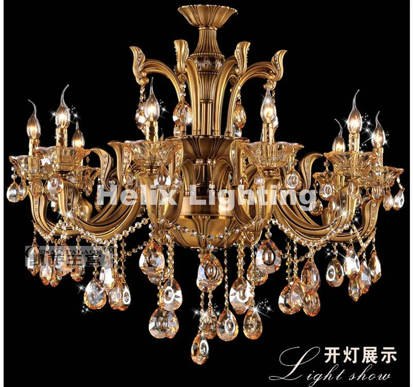 Modern bronz antik kristálycsillár, láncszem luxus sárgaréz - Beltéri világítás - Fénykép 2