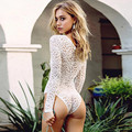 New Fashion Women White Lace Long Sleeve Bodysuit Sexy Deep V Bodycon Slim Fit Short Playsuit Summer Rompers Skinny Clubwear