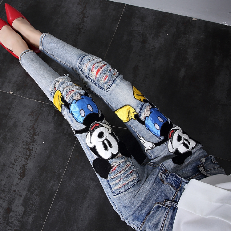 2019 New Autumn Fashion Patch Cartoon Mickey Hole Denim Pants Slim Women Long Trousers Ankle-length Female Pencil Jeans