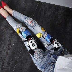 2019 Nieuwe Herfst Mode Patch Cartoon Mickey Gat Denim Broek Slanke Vrouwen Lange Broek enkellange Vrouwelijke Potlood Jeans