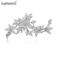 Teemi fashion shawl accessories luxury white cz diamond wedding jewelry flower brooch bridal