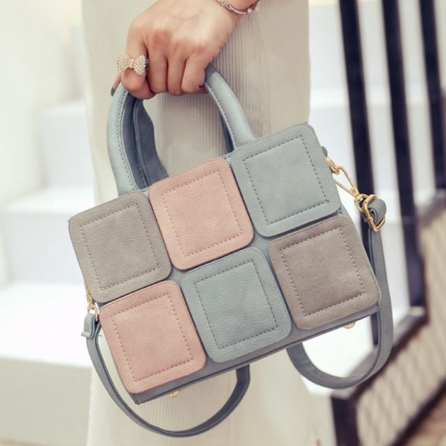 Women's Casual Patchwork Zipper Leather Handbag