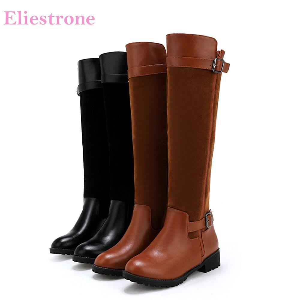 62278e6e Rodilla Black brown Cuadrado 30 Sl211 Tacones Invierno Botas Mujeres Grande  Tamaño 50 Med 10 Marrón Zapatos ...