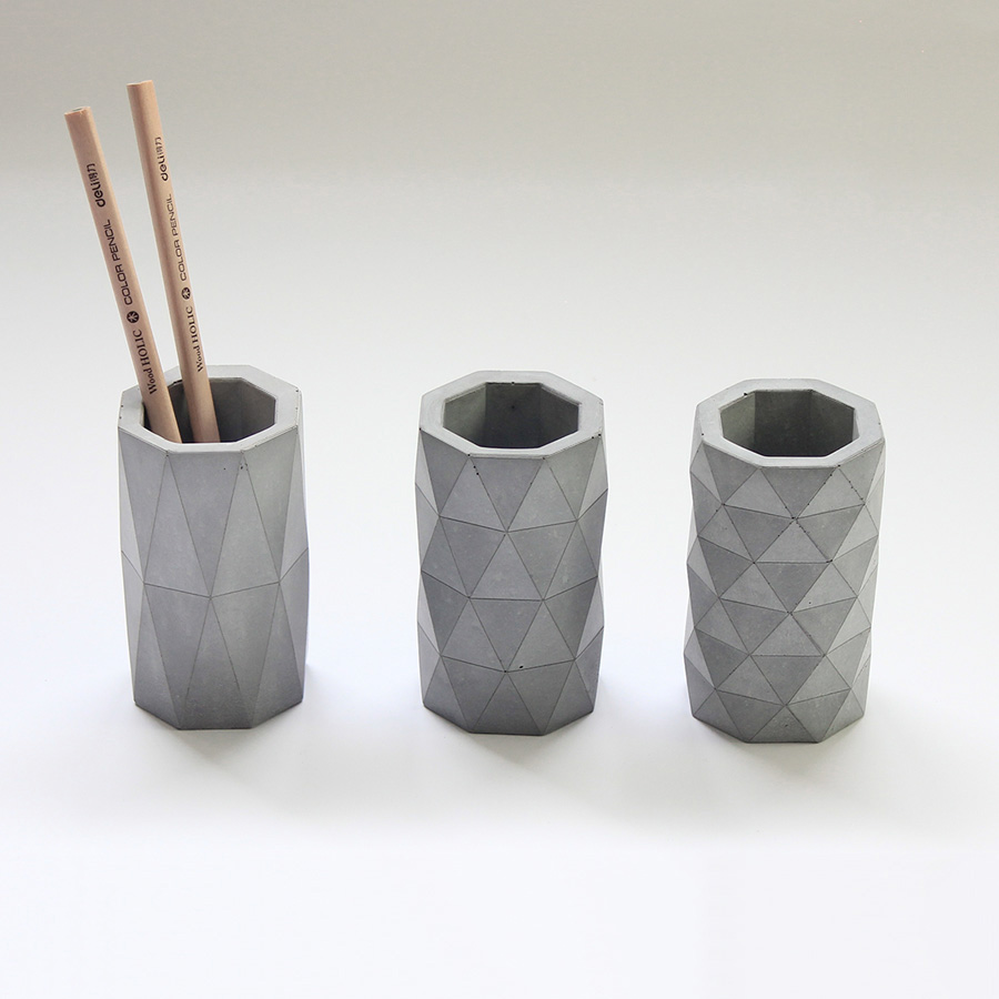 3 geometric design patterns concrete pen holder silicone mold manual cement mold DIY vase mold  Flower pot mould