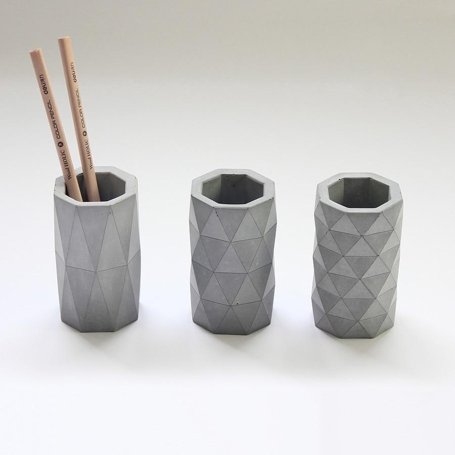 3 Geometric Design Patterns Concrete Pen Holder Silicone Mold Manual Cement Mold DIY Vase Mold  Flower Pot Mould
