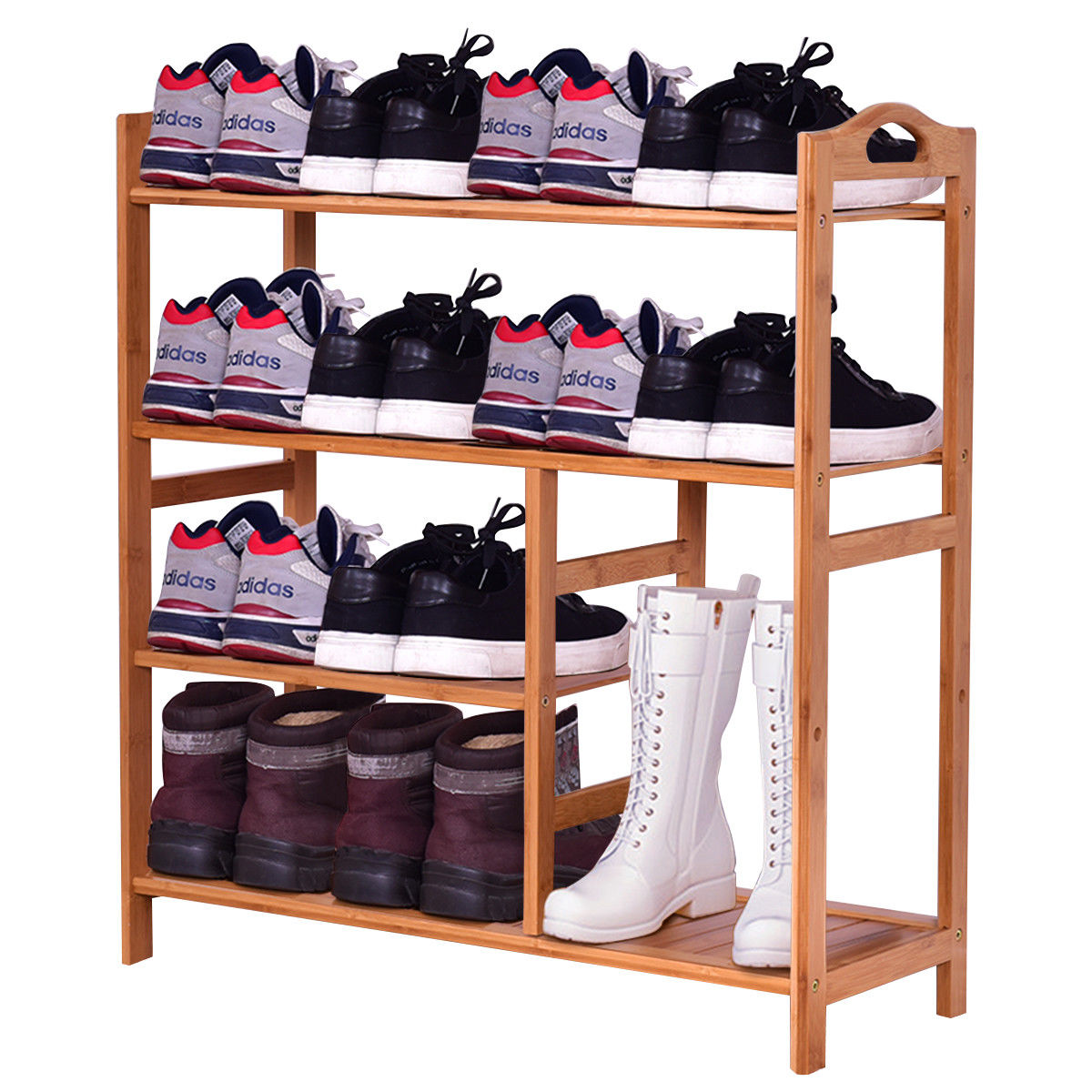 Giantex 4 Tier Multifunction Bamboo Shoe Rack Boot Tower Shelf Modern Home Shoes Storage Organizer Stand HW56488 68cm length stable 4 tier bamboo shoe shelf rack stand organizer holder storage tool exquisite home furniture