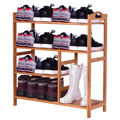 Giantex 4 Tier Multifunction Bamboo Shoe Rack Boot Tower Shelf Modern Home Shoes Storage Organizer Stand HW56488