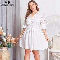 VIP FASHION 2019 Latest Lace Plus Size Fashion Hollow V Neck Flare Sleeve Women's White Dress Loose Ladies Summer Dresses