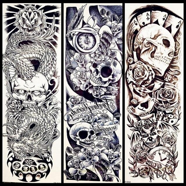 25 Diseño Rosa Calavera Punk Gran Flor Brazo Temporal Tatuaje