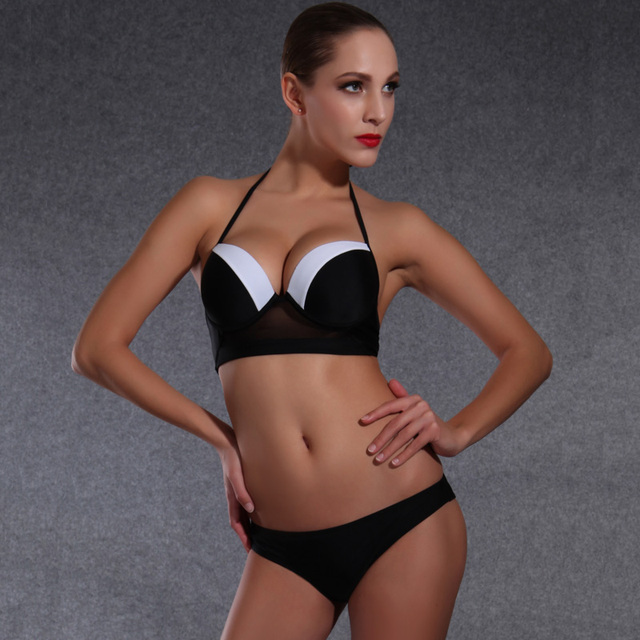 f3b78074a2 2016 Bikini new women swimwear suit for women Black and white Hard package  sexy beach biquinis bikini set push-up Free shipping
