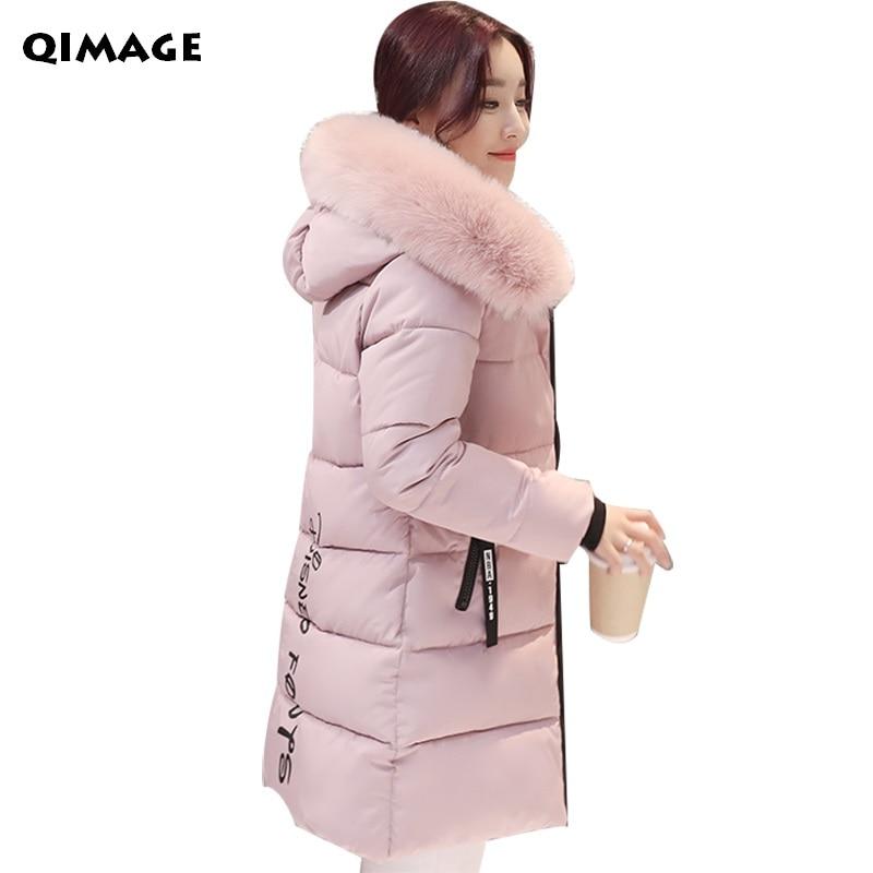 QIMAGE Winter Women Jacket 2017 Fashion Long Hood Parka Fur Collar Cotton Padded Jacket Female Warm Coats Plus size Outwear