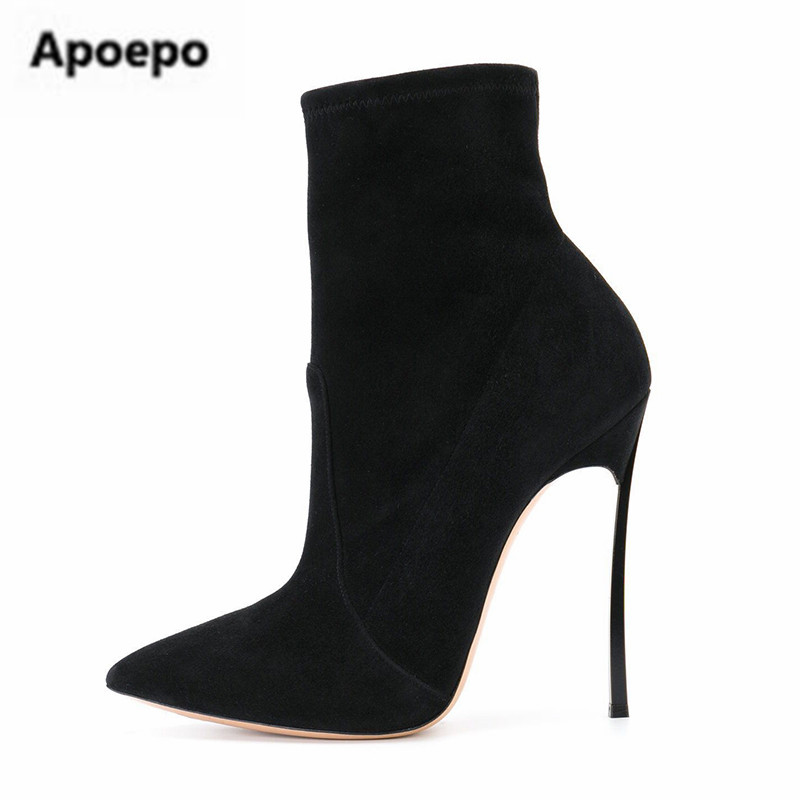 Apoepo brand women boots sexy pointed toe high heels shoes women boots thin metal heels ankle boots for women plus size 10.5 women ankle boots platform chunky heels pointed toe black women high heels boots sexy laides party boots shoes heels