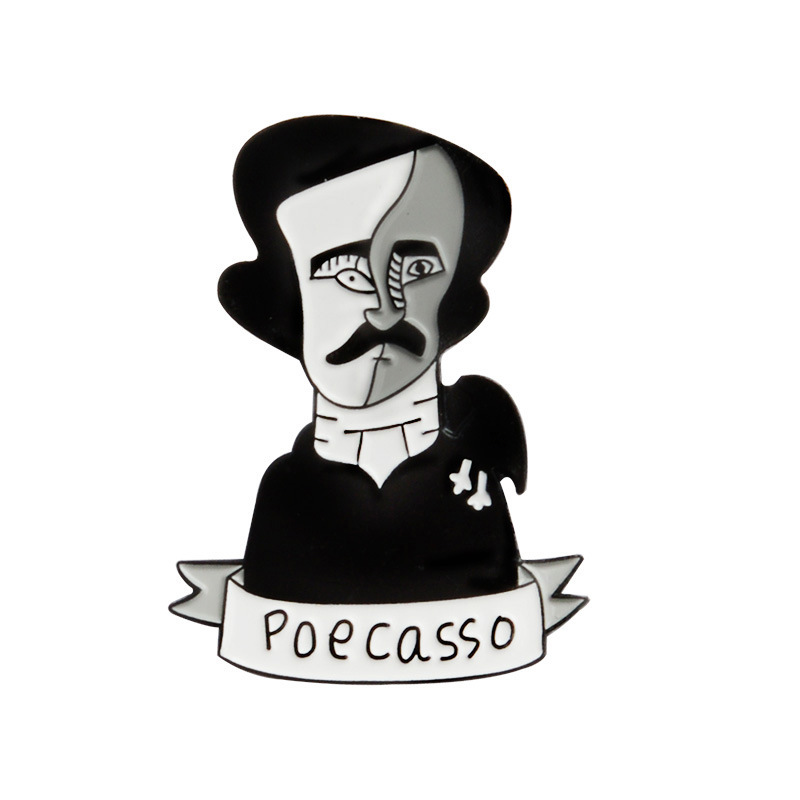 American poets writers Edgar Allan Poe Poecasso Enamel Pin Cartoon Metal  Badge Denim Jeans Shirt Lapel pin Art Fashion Jewelry -in Brooches from