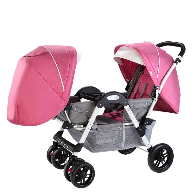 High quality practical high landscape twins baby stroller four wheel shock absorption can sit and lie a foldable baby cart