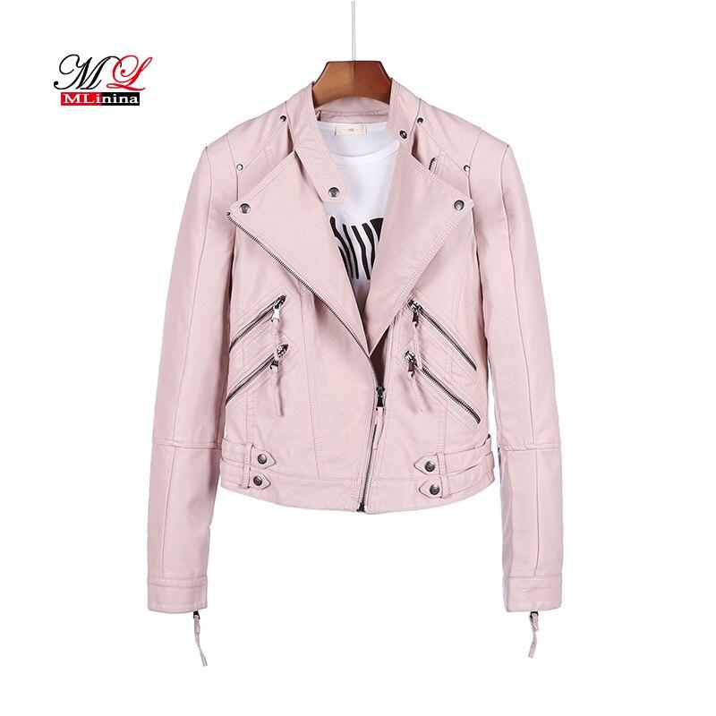 MLinina Winter Pu   Leather   Jackets New Autumn Black Good Quality Ladies Basic Street Women Short Soft Pu Outwear Coat