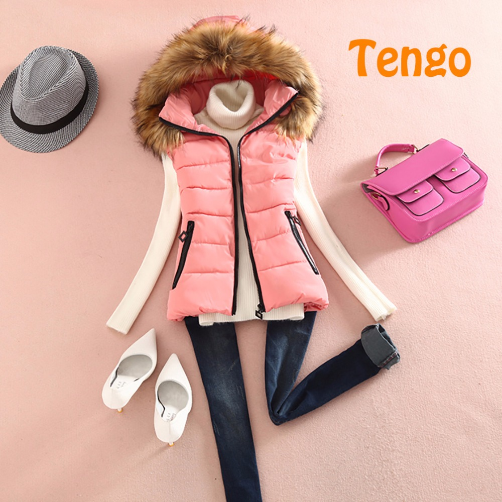 Tengoブランドレディースベストフード付きチョッキカジュアルスリムダウンジャケットコットンベスト女性毛皮コート女性レディース冬ジャケット