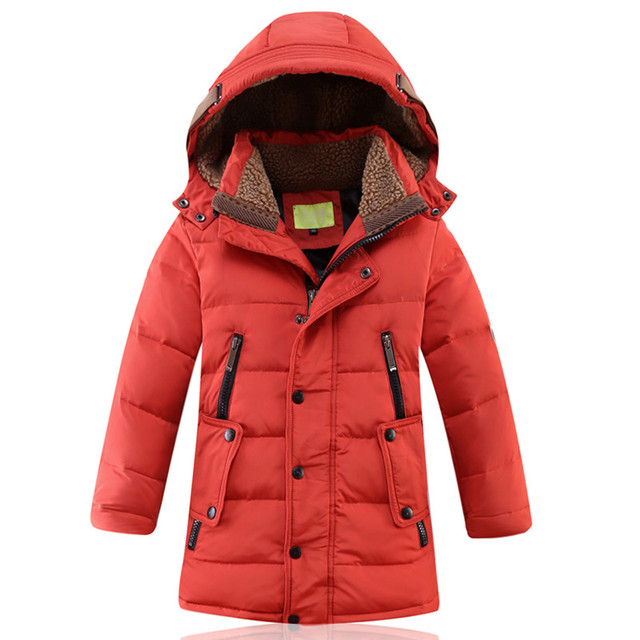 BALA 2016 Winter 90% Down Long Boys Overcoat Cold-Proof Parkas Children Heigh 130-160cm 3 Colors
