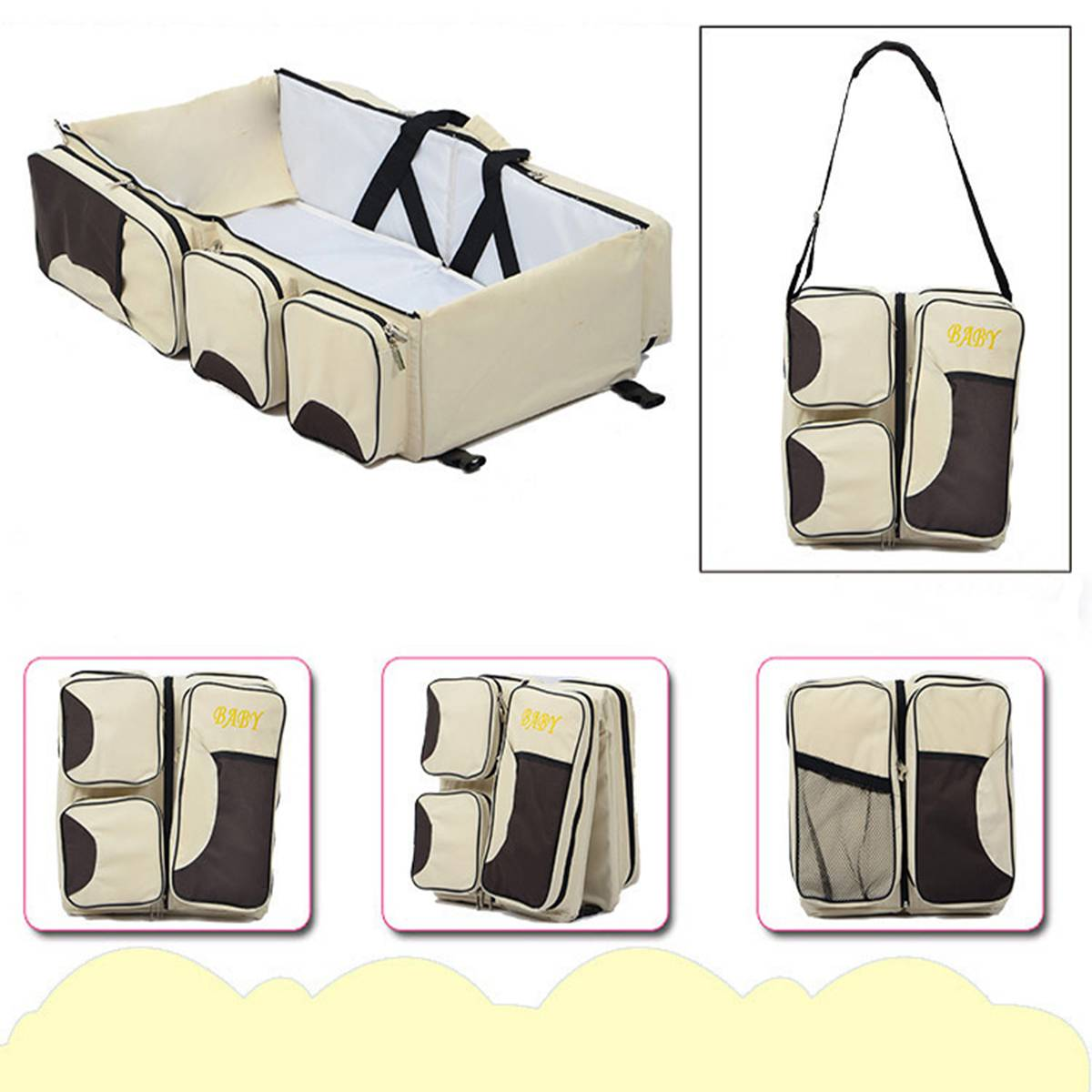 Fashion Diapers Bag Folding Mummy Travel Baby Bed Kids Bottle Cloth Case Large Space Nappy Bag 3 in 1 Portable Nappy Nursing BagFashion Diapers Bag Folding Mummy Travel Baby Bed Kids Bottle Cloth Case Large Space Nappy Bag 3 in 1 Portable Nappy Nursing Bag