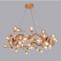 Phube Lighting Copper Branches Glass Fruit Chandelier Light Bar Salon Chandelier Light Lighting Free Shipping